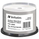 Диск DVD Verbatim 4.7Gb 16X CakeBox 50шт Print-SILVE Фото