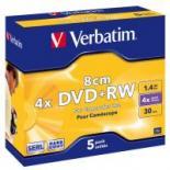 Диск DVD Verbatim mini 1.4Gb 4X Jewel 5шт Matt Silver Фото