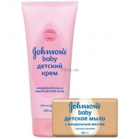 Детский крем Johnson's Baby 200 г + мыло с миндальным маслом 100 г Фото
