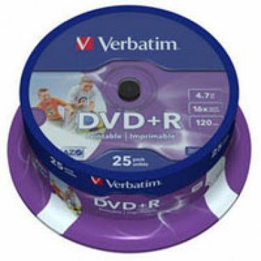 Диск DVD Verbatim 4.7Gb 16X CakeBox 25шт Printable (43539) - фото 1