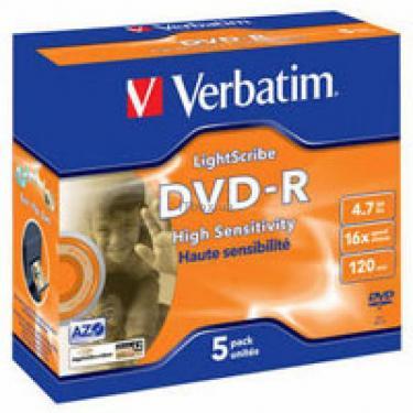Диск DVD Verbatim 4.7Gb 16X Jewel case 5шт LightScrib (43621) - фото 1
