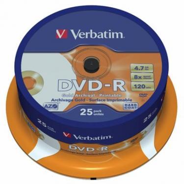 Диск DVD Verbatim 4.7Gb 8X CakeBox25/GoldArchiv Print (43634) - фото 1