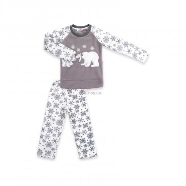 Пижама Matilda флисовая с мишками и снежинками (7161-104G-white) - фото 1