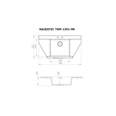 Мойка кухонная PERFELLI MAJESTIC TGM 1251-96 BLACK METALLIC - фото 6