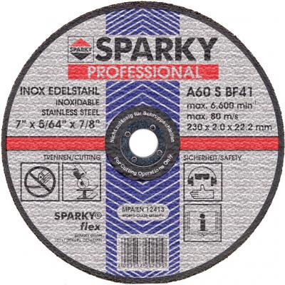 Диск SPARKY отрезной 230x2.0x22.2 абразивный A 60 S по нерж.стали (20009561309)