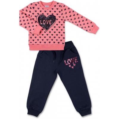 Набор детской одежды Breeze кофта с брюками с сердечком из пайеток (8271-98G-pink)